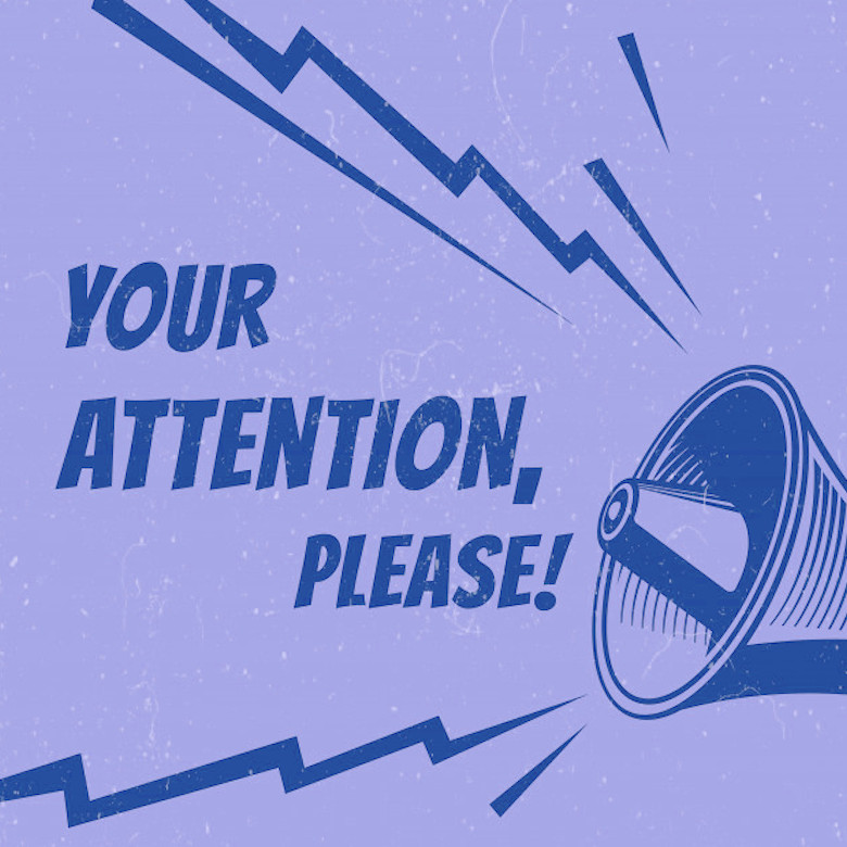 attention-please-poster-with-voice-megaphone blue